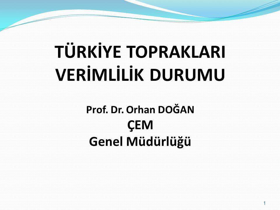 TÜRKİYE TOPRAKLARI VERİMLİLİK DURUMU Prof. Dr