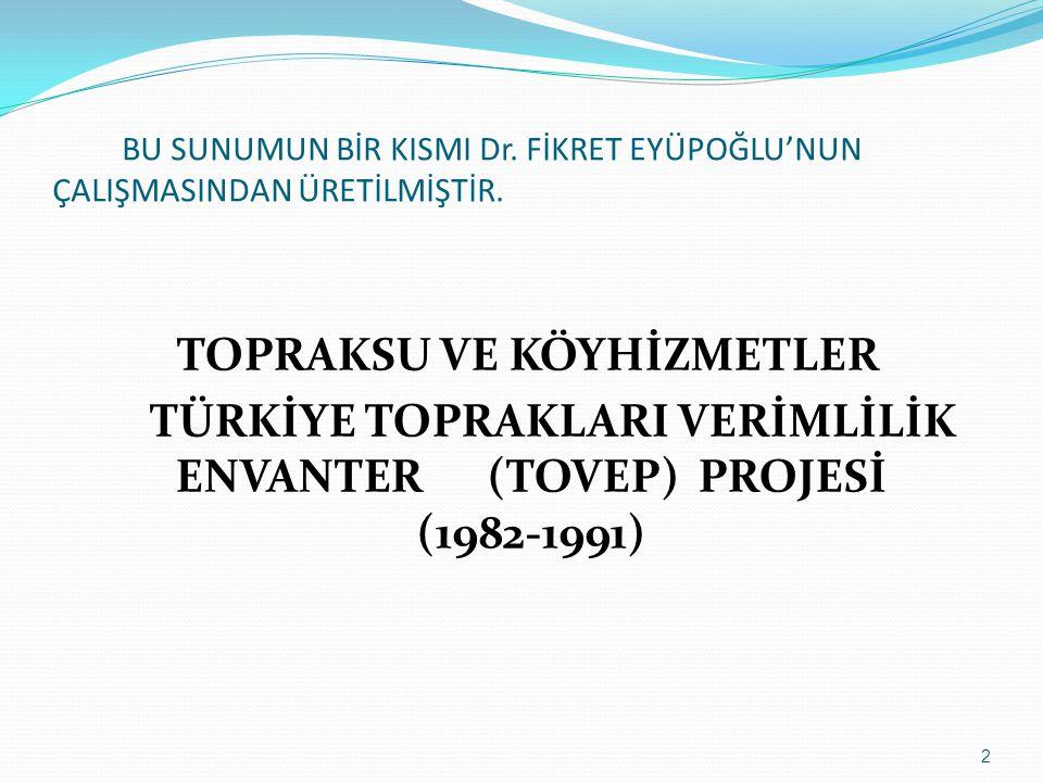 TÜRKİYE TOPRAKLARI VERİMLİLİK ENVANTER (TOVEP) PROJESİ (1982-1991)