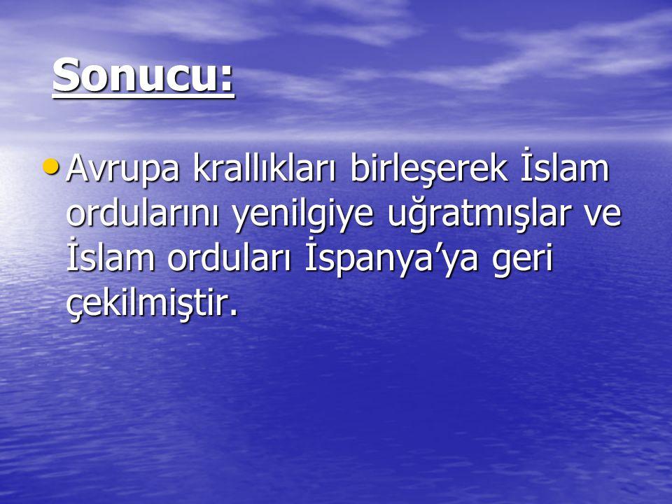 Sonucu: Avrupa krallıkları birleşerek İslam ordularını yenilgiye uğratmışlar ve İslam orduları İspanya'ya geri çekilmiştir.