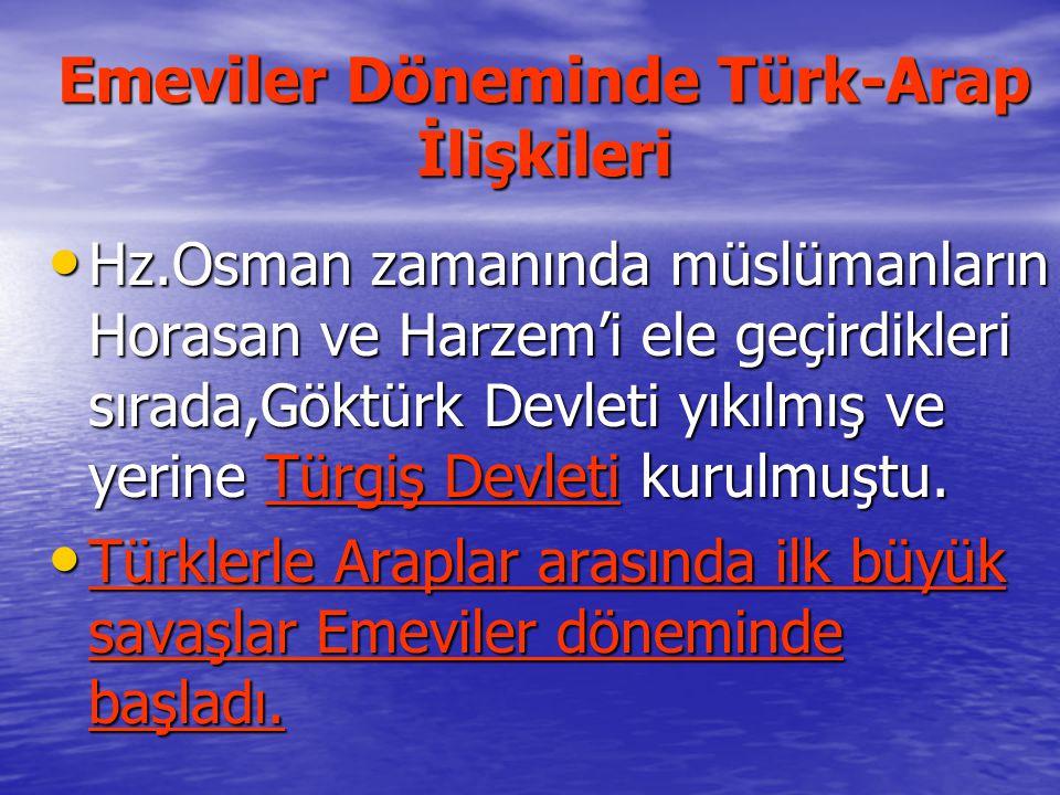 Emeviler Döneminde Türk-Arap İlişkileri