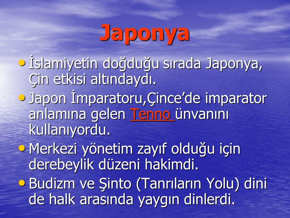 Japonya İslamiyetin doğduğu sırada Japonya, Çin etkisi altındaydı.