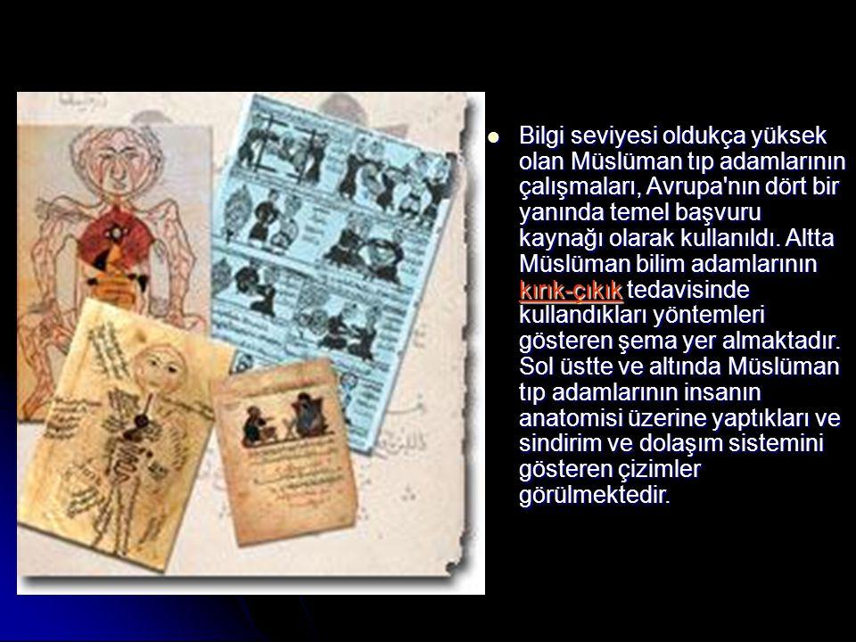 Bilgi seviyesi oldukça yüksek olan Müslüman tıp adamlarının çalışmaları, Avrupa nın dört bir yanında temel başvuru kaynağı olarak kullanıldı.