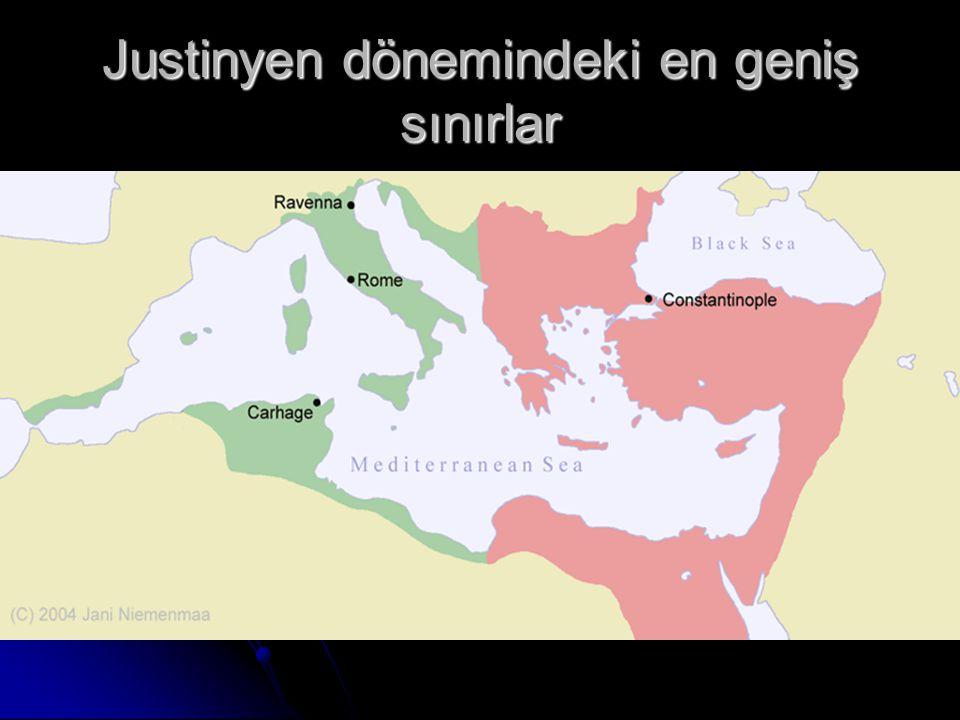 Justinyen dönemindeki en geniş sınırlar