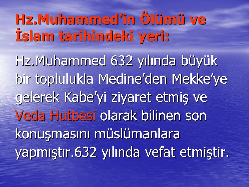 Hz.Muhammed'in Ölümü ve İslam tarihindeki yeri:
