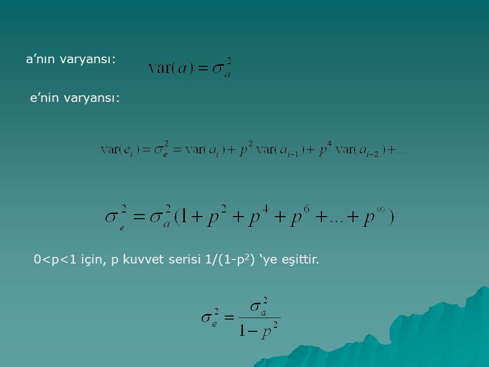a'nın varyansı: e'nin varyansı: 0<p<1 için, p kuvvet serisi 1/(1-p2) 'ye eşittir.