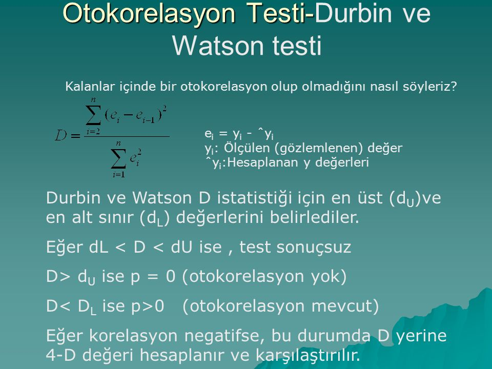 Otokorelasyon Testi-Durbin ve Watson testi