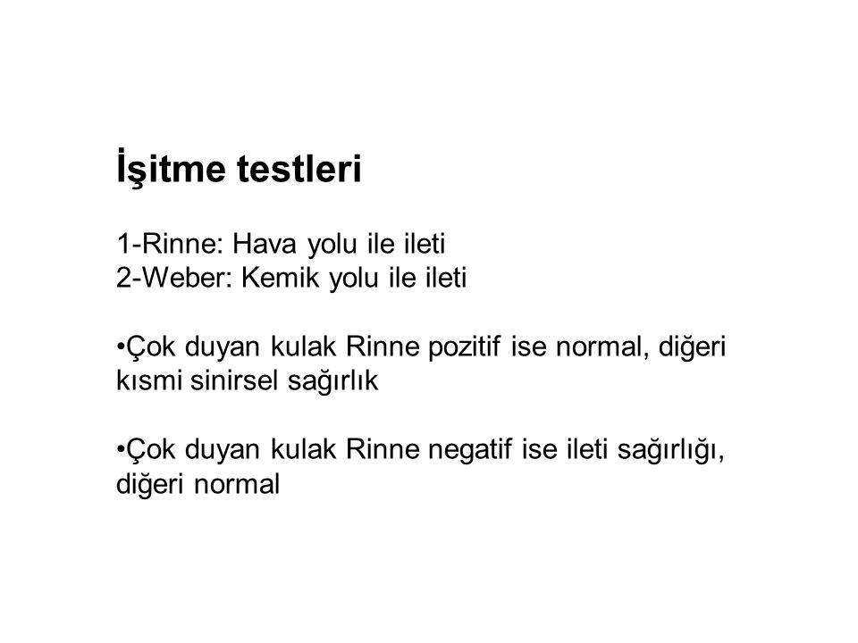 İşitme testleri 1-Rinne: Hava yolu ile ileti