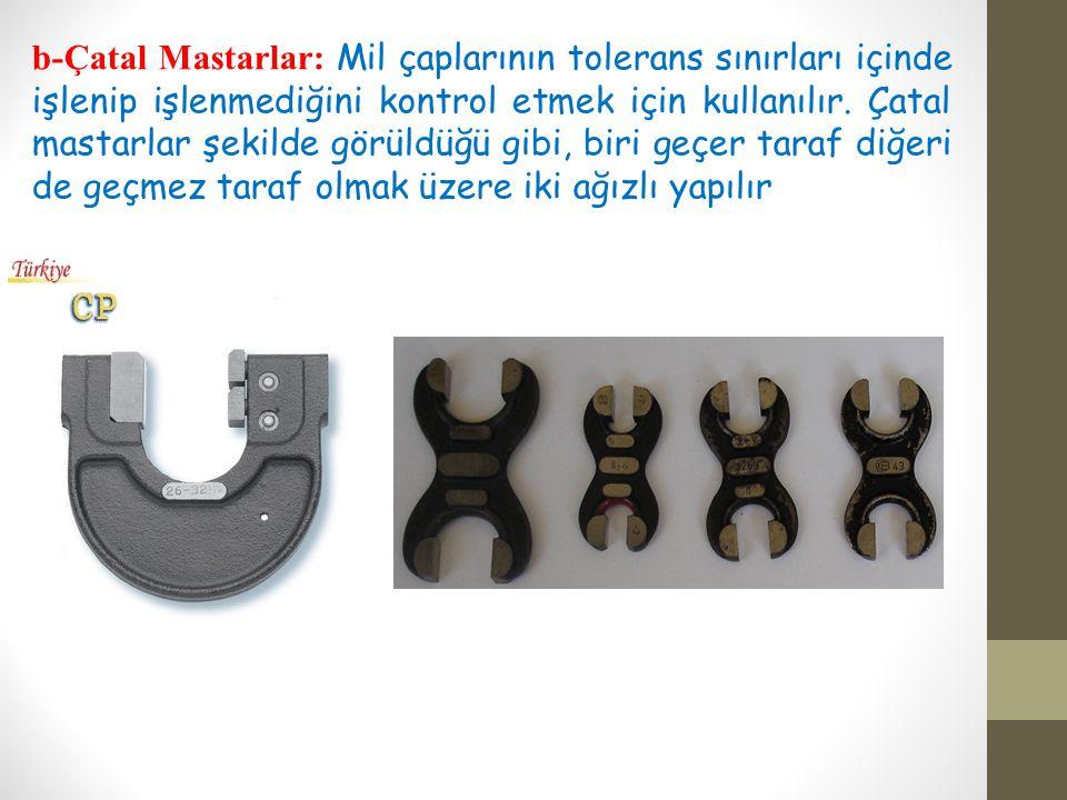 b-Çatal Mastarlar: Mil çaplarının tolerans sınırları içinde işlenip işlenmediğini kontrol etmek için kullanılır.