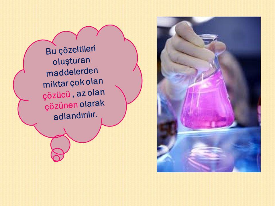 Bu çözeltileri oluşturan maddelerden miktar çok olan çözücü , az olan çözünen olarak adlandırılır.