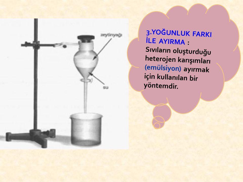 3.YOĞUNLUK FARKI İLE AYIRMA : Sıvıların oluşturduğu heterojen karışımları (emülsiyon) ayırmak için kullanılan bir yöntemdir.