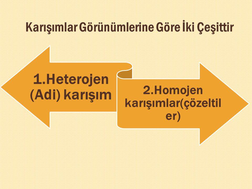 2.Homojen karışımlar(çözeltiler)
