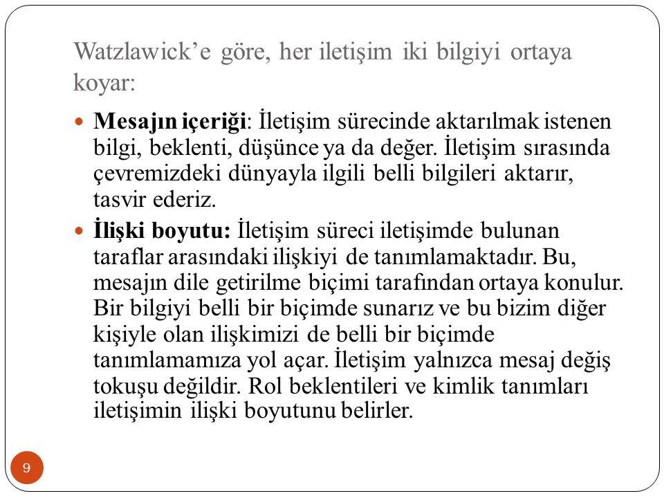 Watzlawick'e göre, her iletişim iki bilgiyi ortaya koyar: