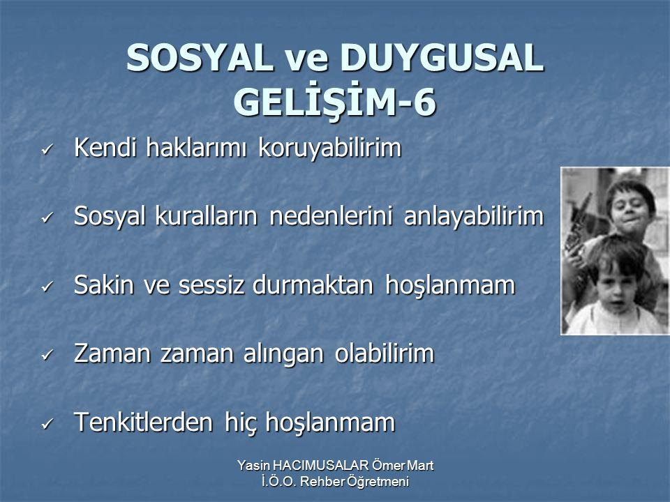SOSYAL ve DUYGUSAL GELİŞİM-6