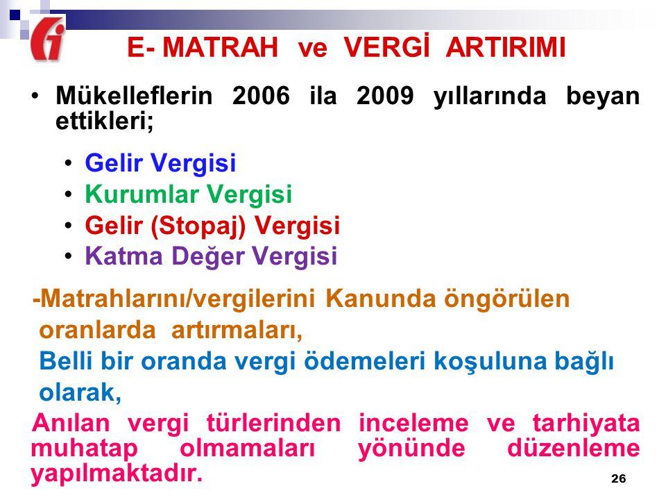 E- MATRAH ve VERGİ ARTIRIMI