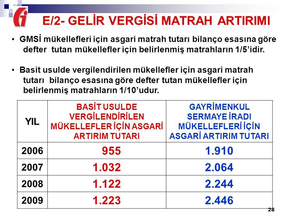 E/2- GELİR VERGİSİ MATRAH ARTIRIMI