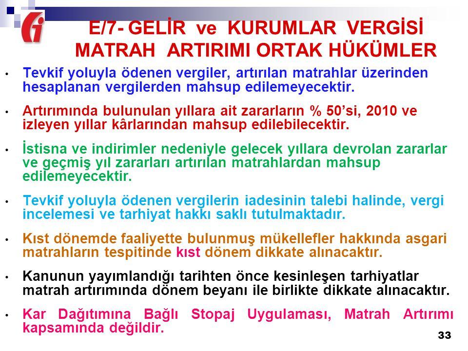 E/7- GELİR ve KURUMLAR VERGİSİ MATRAH ARTIRIMI ORTAK HÜKÜMLER