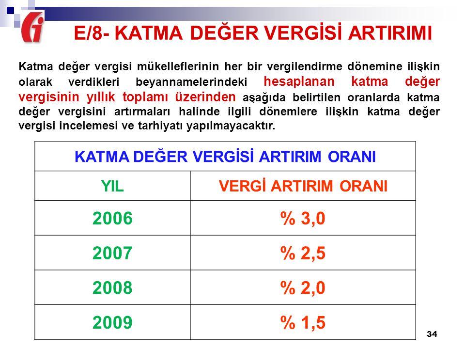 E/8- KATMA DEĞER VERGİSİ ARTIRIMI KATMA DEĞER VERGİSİ ARTIRIM ORANI