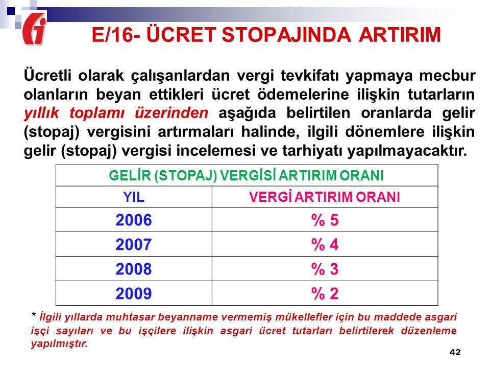 E/16- ÜCRET STOPAJINDA ARTIRIM GELİR (STOPAJ) VERGİSİ ARTIRIM ORANI