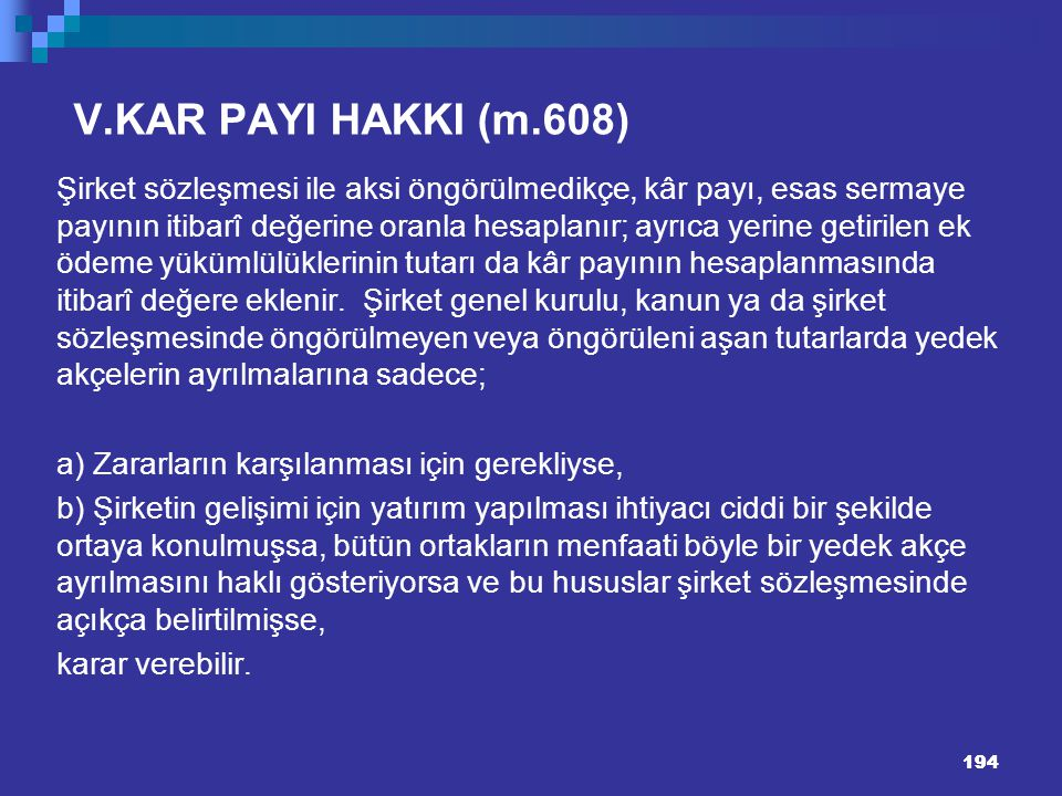 V.KAR PAYI HAKKI (m.608)