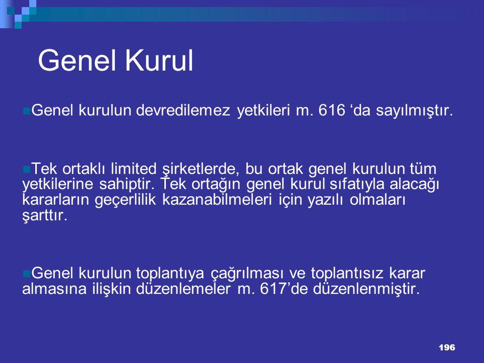 Genel Kurul Genel kurulun devredilemez yetkileri m. 616 'da sayılmıştır.
