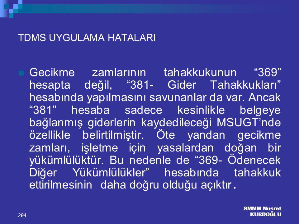 TDMS UYGULAMA HATALARI
