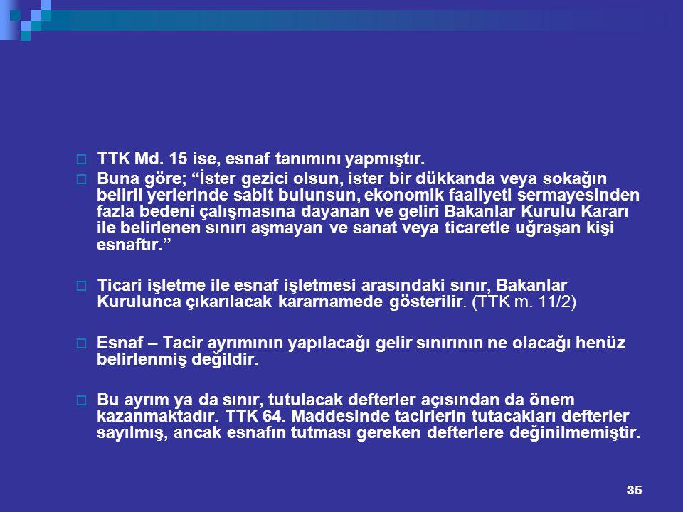 TTK Md. 15 ise, esnaf tanımını yapmıştır.