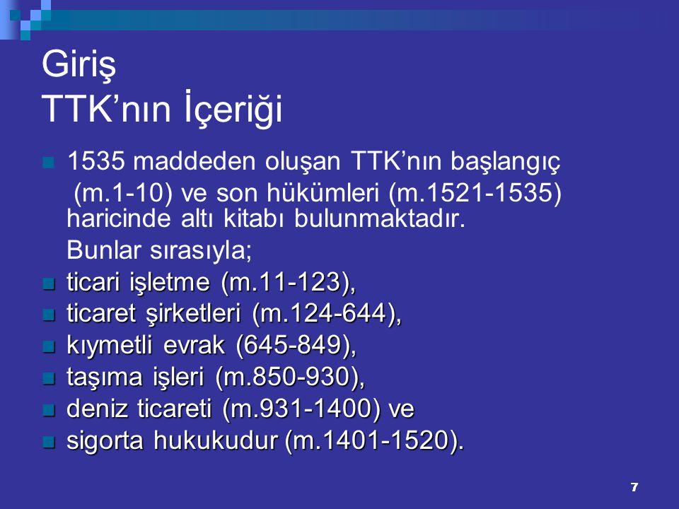 Giriş TTK'nın İçeriği 1535 maddeden oluşan TTK'nın başlangıç