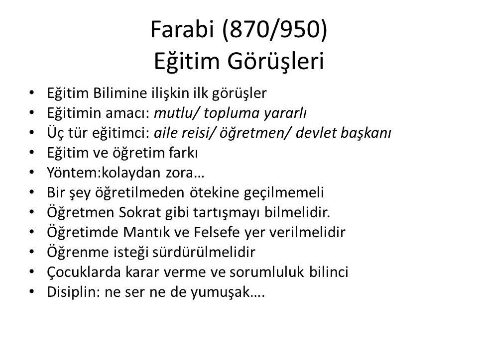 Farabi (870/950) Eğitim Görüşleri