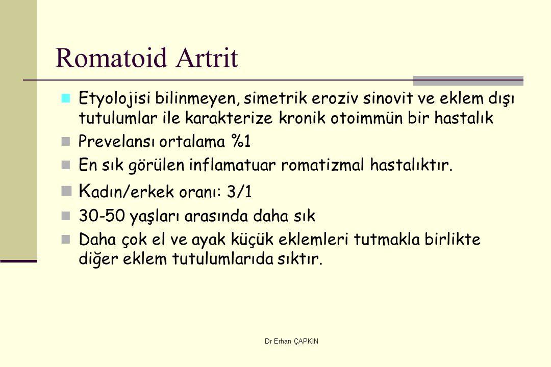 Romatoid Artrit Kadın/erkek oranı: 3/1