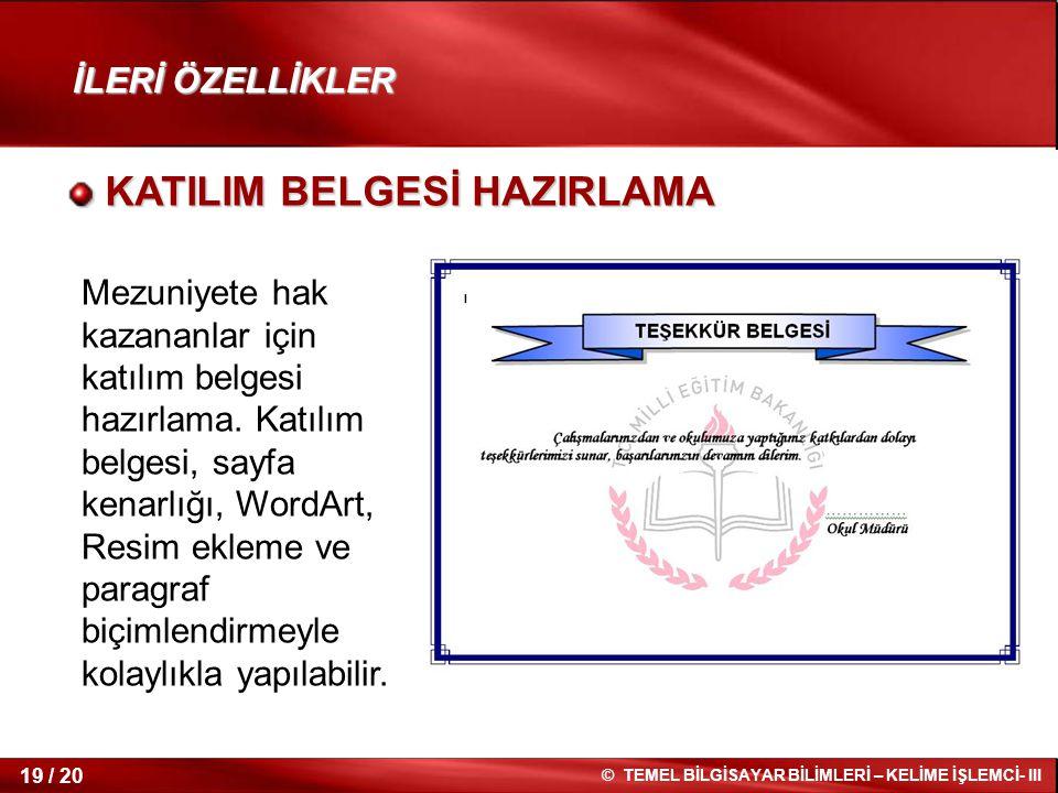 KATILIM BELGESİ HAZIRLAMA