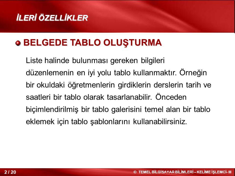 BELGEDE TABLO OLUŞTURMA
