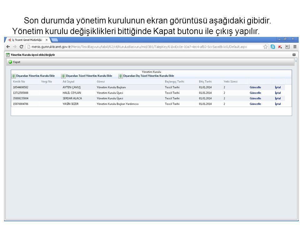 Son durumda yönetim kurulunun ekran görüntüsü aşağıdaki gibidir