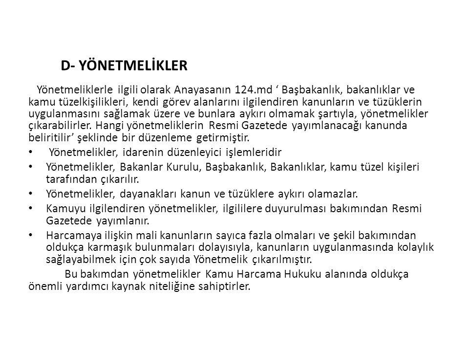 D- YÖNETMELİKLER
