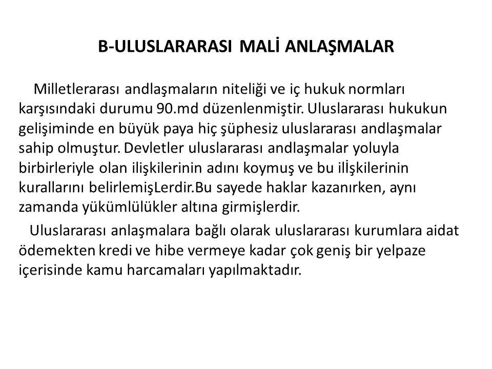 B-ULUSLARARASI MALİ ANLAŞMALAR