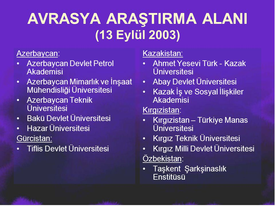 AVRASYA ARAŞTIRMA ALANI (13 Eylül 2003)
