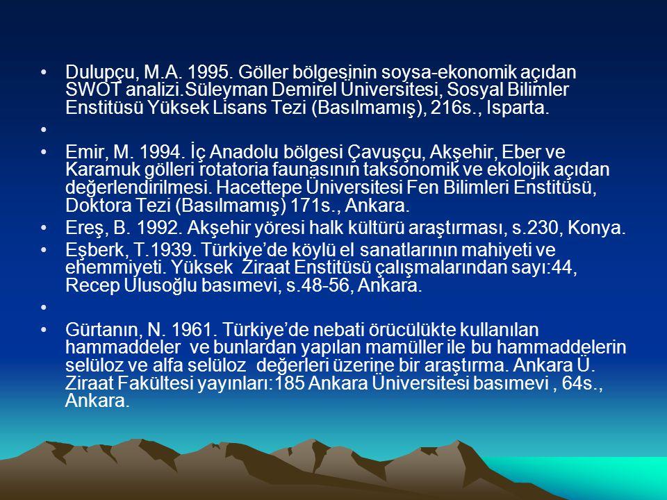 Dulupçu, M.A. 1995. Göller bölgesinin soysa-ekonomik açıdan SWOT analizi.Süleyman Demirel Üniversitesi, Sosyal Bilimler Enstitüsü Yüksek Lisans Tezi (Basılmamış), 216s., Isparta.