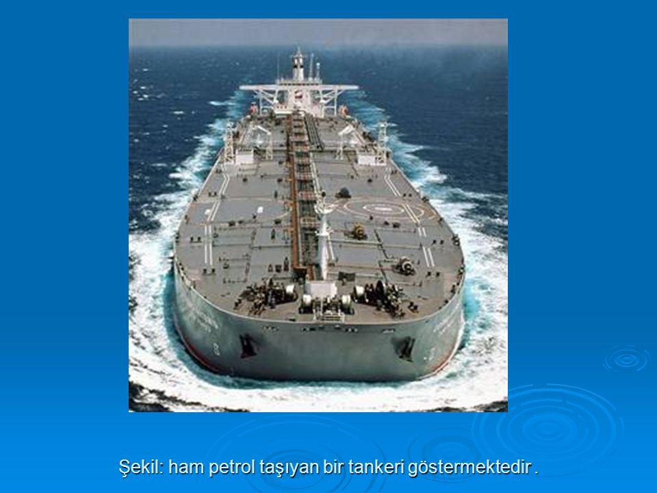 Şekil: ham petrol taşıyan bir tankeri göstermektedir .