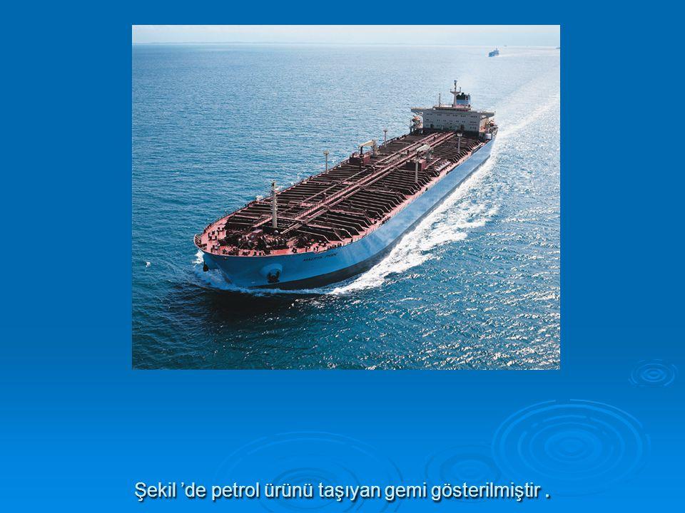 Şekil 'de petrol ürünü taşıyan gemi gösterilmiştir .