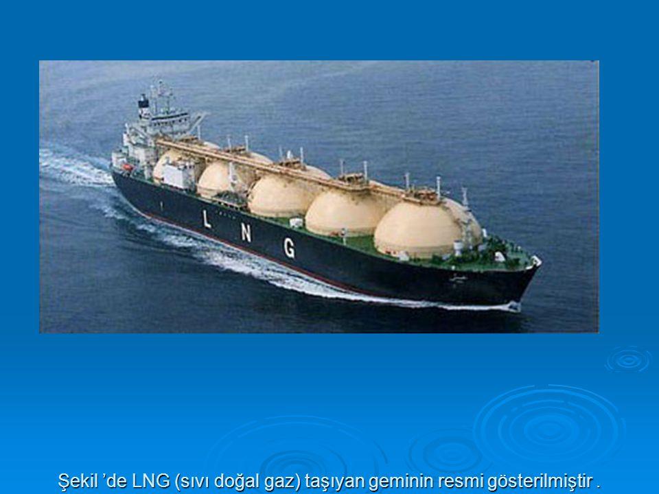 Şekil 'de LNG (sıvı doğal gaz) taşıyan geminin resmi gösterilmiştir .
