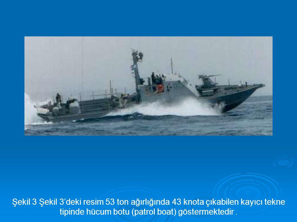 Şekil 3 Şekil 3'deki resim 53 ton ağırlığında 43 knota çıkabilen kayıcı tekne tipinde hücum botu (patrol boat) göstermektedir .