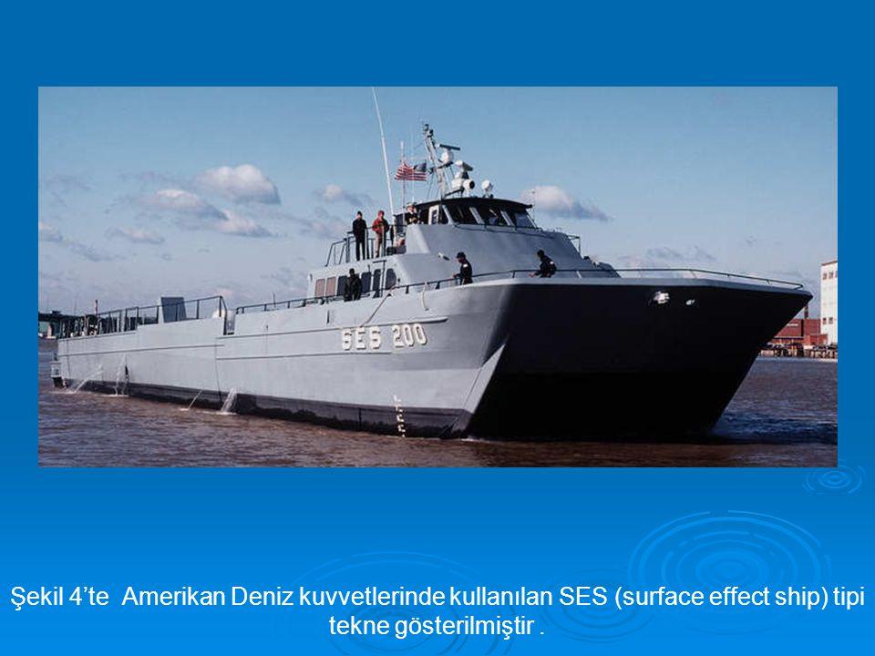 Şekil 4'te Amerikan Deniz kuvvetlerinde kullanılan SES (surface effect ship) tipi tekne gösterilmiştir .