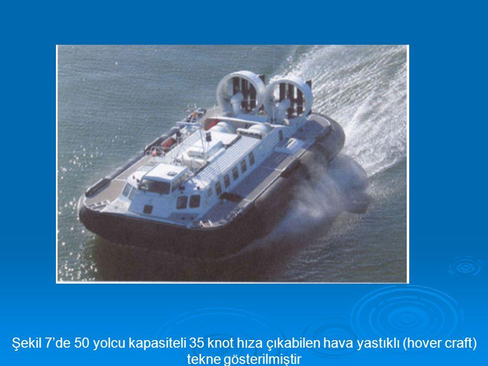 Şekil 7'de 50 yolcu kapasiteli 35 knot hıza çıkabilen hava yastıklı (hover craft)