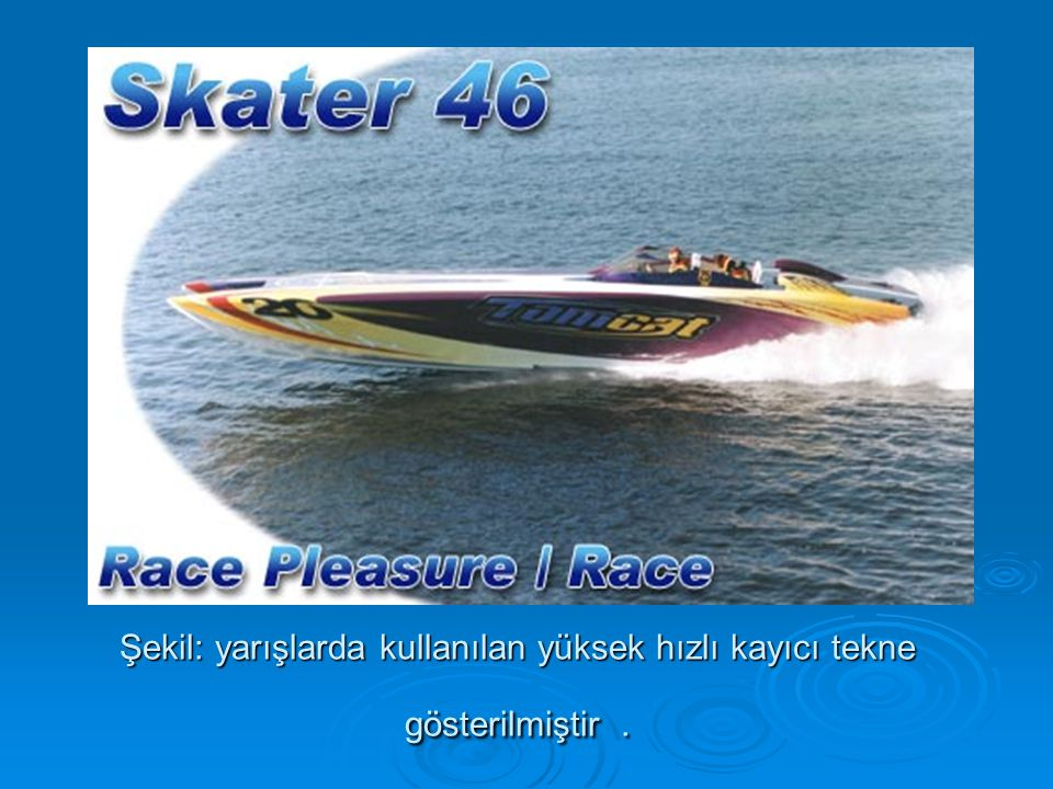 Şekil: yarışlarda kullanılan yüksek hızlı kayıcı tekne gösterilmiştir .