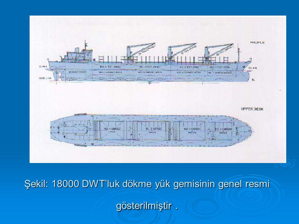 Şekil: 18000 DWT'luk dökme yük gemisinin genel resmi gösterilmiştir .