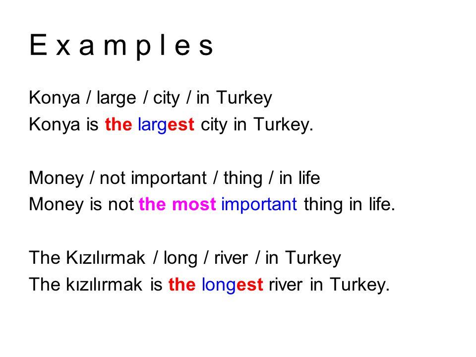 E x a m p l e s Konya / large / city / in Turkey