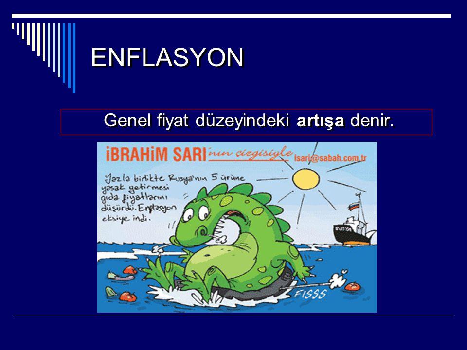 ENFLASYON Genel fiyat düzeyindeki artışa denir.