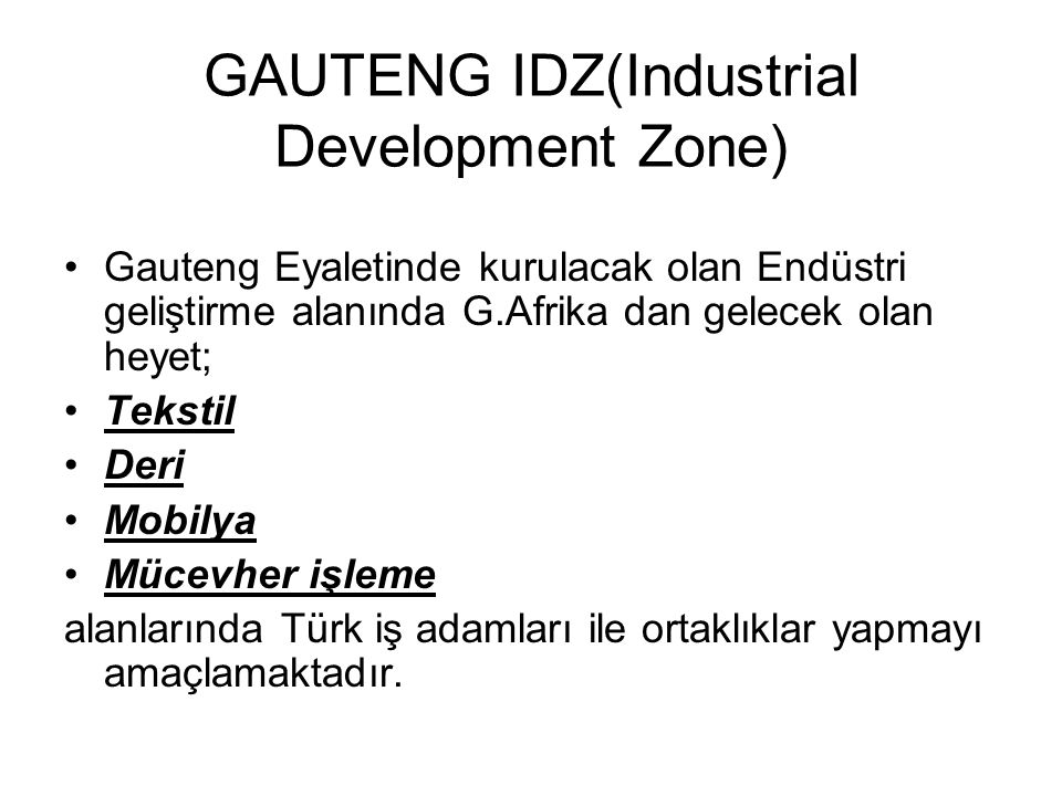 GAUTENG IDZ(Industrial Development Zone)