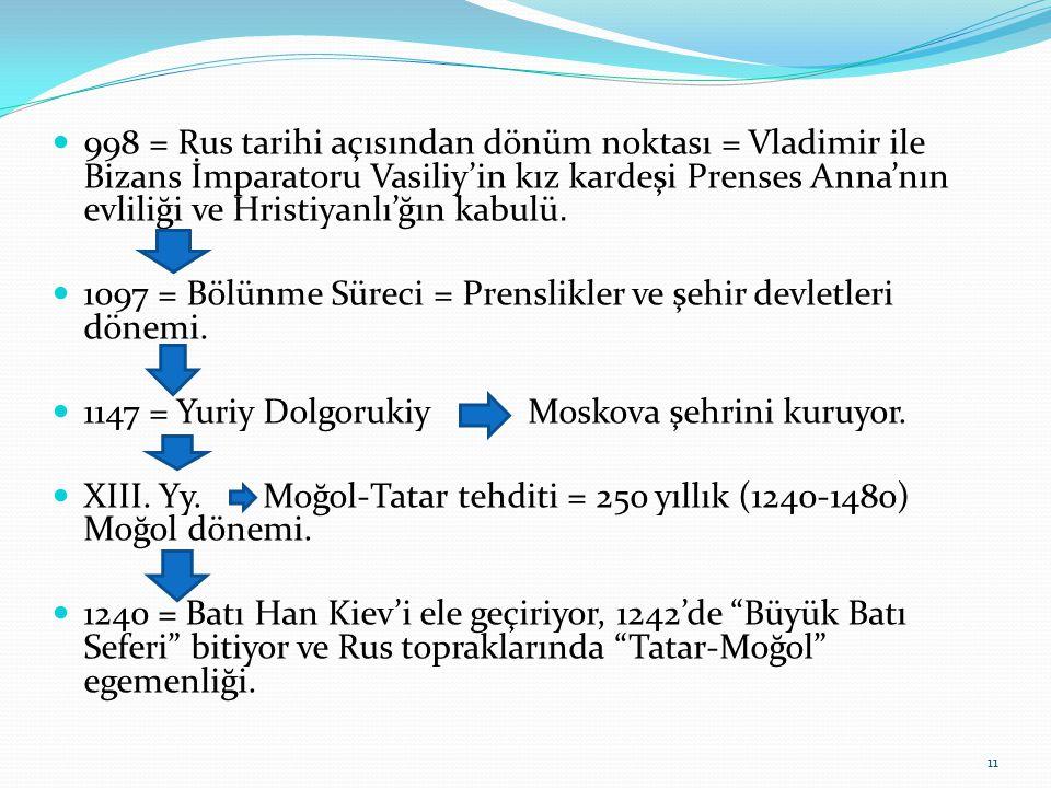 998 = Rus tarihi açısından dönüm noktası = Vladimir ile Bizans İmparatoru Vasiliy'in kız kardeşi Prenses Anna'nın evliliği ve Hristiyanlı'ğın kabulü.