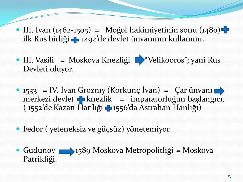 III. İvan (1462-1505) = Moğol hakimiyetinin sonu (1480) ilk Rus birliği 1492'de devlet ünvanının kullanımı.
