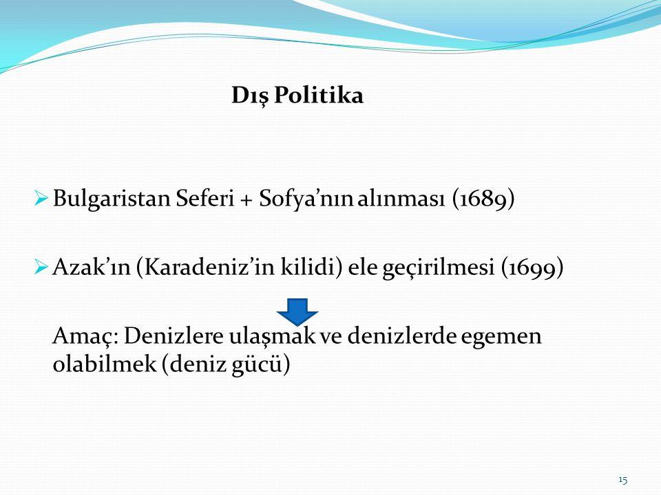 Dış Politika Bulgaristan Seferi + Sofya'nın alınması (1689) Azak'ın (Karadeniz'in kilidi) ele geçirilmesi (1699)